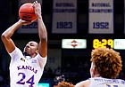 Kansas guard Bryce Thompson (24) pulls up for a shot in the paint during the first half, Tuesday, Dec. 22, 2020 at Allen Fieldhouse.