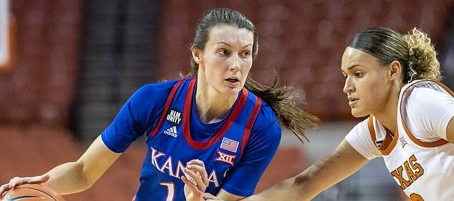 Kansas' Holly Kersgieter looks to drive versus Texas on, Thursday, Jan., 14, 2021, in Austin, Texas. (Stephen Spillman)