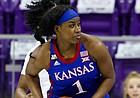 Kansas forward Tina Stephens eyes the TCU defense in Schollmaier Arena in Fort Worth, Texas on Jan. 17, 2021. (Photo/Gregg Ellman )