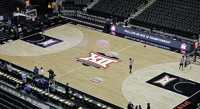 The Big 12 Conference tournament court is pictured Thursday, March 12, 2020, in Kansas City, Mo. (AP Photo/Charlie Riedel)