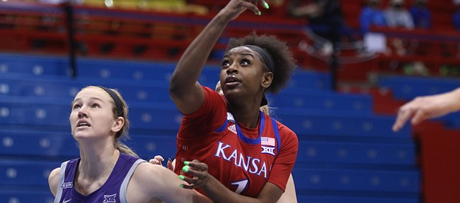 Kansas forward Tina Stephens battles for position against K-State's Laura Macke on Jan. 23, 2021, at Allen Fieldhouse.