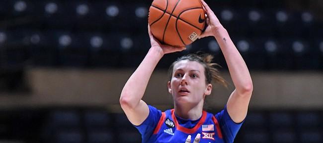 Kansas guard Holly Kersgieter rises up for a shot attempt versus WVU on Feb. 10, 2021, at WVU Coliseum.