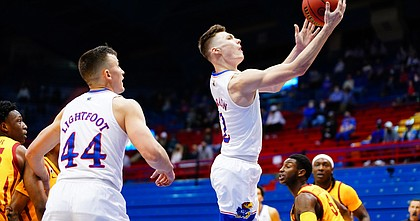 during the second half on Thursday, Feb. 11, 2021 at Allen Fieldhouse.