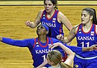 Kansas forward Tina Stephens reaches for the ball as the Jayhawks compete against K-State at Bramlage Coliseum in Manhattan, on February 13, 2021.