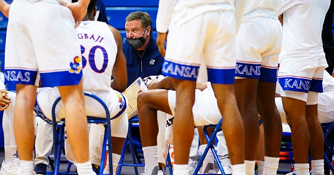 Kansas head coach Bill Self lays into the Jayhawks after a stretch of sloppy play during the first half, Saturday, Jan. 9, 2021 at Allen Fieldhouse.