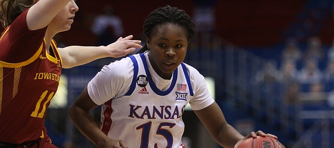 Kansas guard Zakiyah Franklin looks for a driving angle against Iowa State on Feb. 17, 2021, at Allen Fieldhouse.
