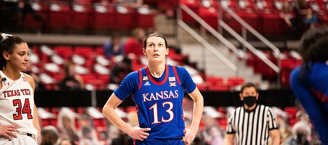 Kansas guard Holly Kersgieter looks up toward the scoreboard during a road game at Texas Tech, on Feb. 20, 2021.