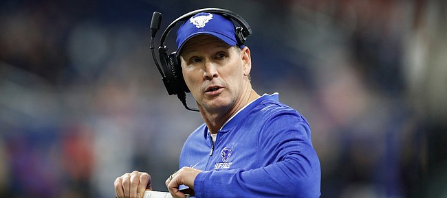 Buffalo head coach Lance Leipold during the second half of the Mid-American Conference championship NCAA college football game against Northern Illinois, Friday, Nov. 30, 2018, in Detroit. (AP Photo/Carlos Osorio)