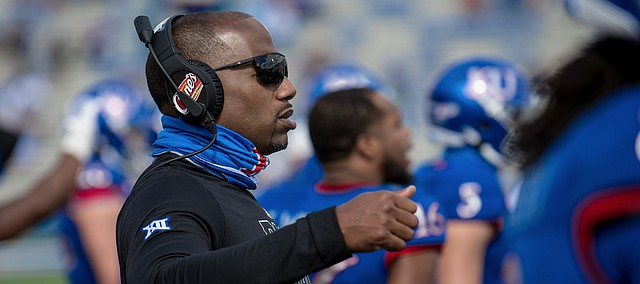 Kansas receivers coach and passing game coordinator Emmett Jones coaches from the sideline in this file photo from the  2020 season. KU named Jones the football team's interim head coach on March 11, 2021.