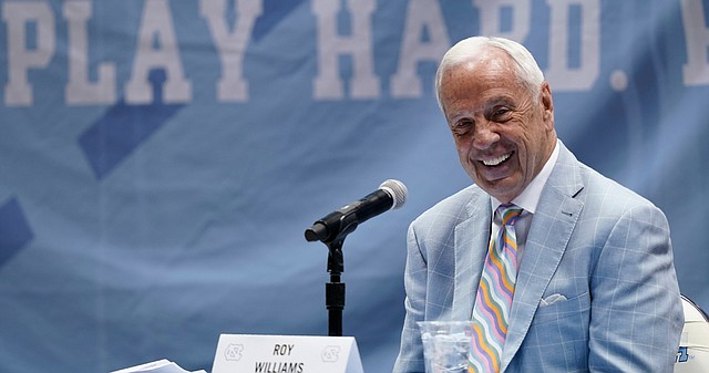 North Carolina Head Basketball Coach Roy Williams speaks with members of the media during a news conference, Thursday, April 1, 2021, in Chapel Hill, N.C. Williams is retiring after 33 seasons and 903 wins as a college basketball head coach. The Hall of Fame coach led the University of North Carolina to three NCAA championships in 18 seasons as head coach of the Tar Heels.