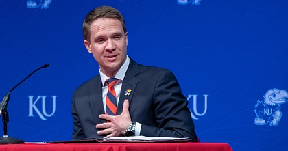 Travis Goff, a 2002 graduate of the University of Kansas and native of Dodge City, introduces himself as KU's new athletic director Wednesday, April 7, 2021, at the Lied Center on KU's west campus.
