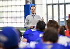 Kansas Athletic Director Travis Goff addresses the football team following a spring practice, on April 8, 2021, Goff's third day on the job at KU.