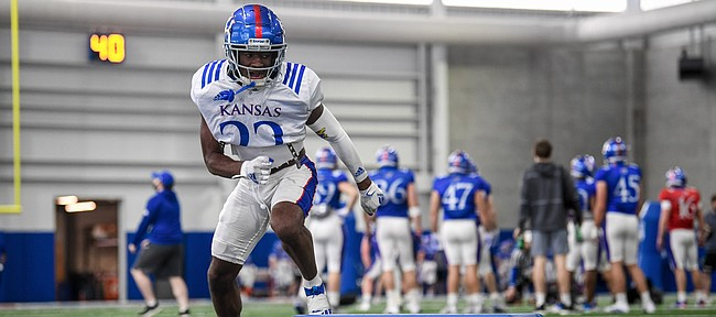 Kansas cornerback Duece Mayberry moves his way through a drill during a spring practice at the Jayhawks' indoor facility.