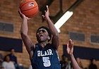 Kansas basketball signee Kyle Cuffe Jr. hangs in the air during a prep game for Blair Academy. Originally ranked as the 56th-best prospect in the 2022 class, Cuffe reclassified into the 2021 class and is now expected to join the Jayhawks in time for the 2021-22 season.