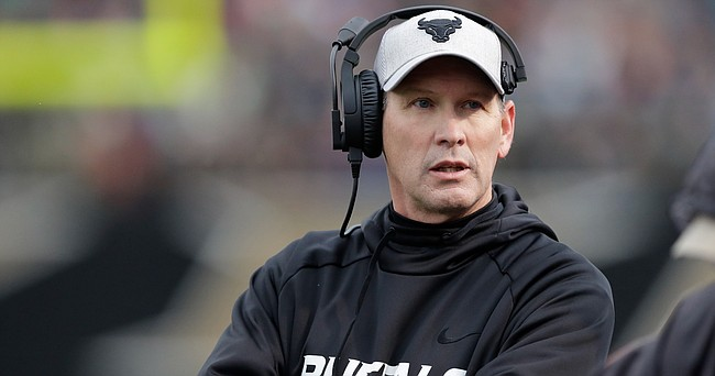 Newly hired University of Kansas football coach Lance Leipold is shown in this Nov. 19, 2016, file photo, during a Buffalo game against Western Michigan, in Kalamazoo, Mich.