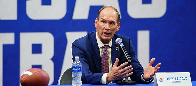 New Kansas head football coach Lance Leipold answers questions during his introductory press conference on Monday, May 3, 2021 at the KU football indoor practice facility.