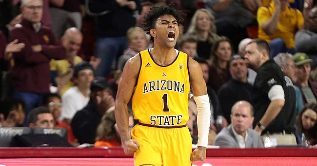 In this Feb. 22, 2020, file photo, Arizona State's Remy Martin (1) shows his feelings after a run by his Sun Devils against Oregon State during the second half of an NCAA college basketball game in Tempe, Ariz.