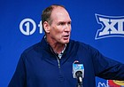Head Football Coach Lance Leipold talks with media members on Tuesday, May 18, 2021 at the Anderson Family Football Complex.