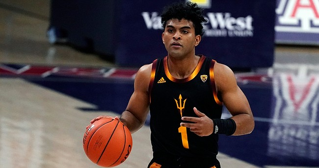 Arizona State guard Remy Martin (1) during the first half of an NCAA college basketball game against Arizona, Monday, Jan. 25, 2021, in Tucson, Ariz.