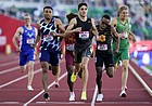 Bryce Hoppel wins the second heat in the semi finals of the men's 900-meter run at the U.S. Olympic Track and Field Trials Saturday, June 19, 2021, in Eugene, Ore.
