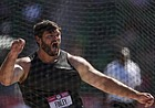 Mason Finley celebrates during the finals of men's discus throw at the U.S. Olympic Track and Field Trials Friday, June 25, 2021, in Eugene, Ore.