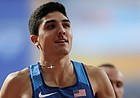 Bryce Hoppel, of the United States smiles after a men's 800 meter semifinal at the World Athletics Championships in Doha, Qatar, Sunday, Sept. 29, 2019. (AP Photo/Petr David Josek)