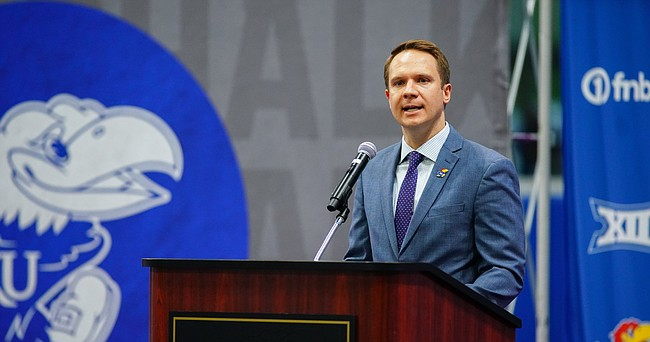 Kansas athletic director Travis Goff addresses media members during an introductory press conference for new head coach Lance Leipold on Monday, May 3, 2021 at the KU football indoor practice facility.