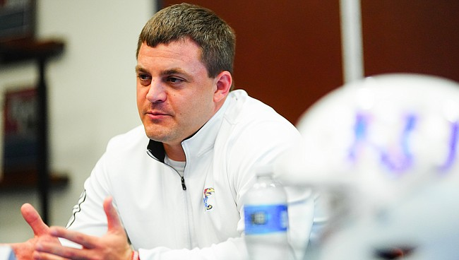 Special teams coordinator Jake Schoonover talks with media members on Tuesday, May 18, 2021 at the Anderson Family Football Complex.