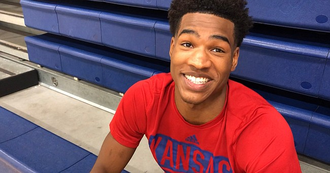 KU senior Ochai Agbaji talked with reporters on Tuesday, July 13, 2021, during a break in a Washburn Basketball camp at Eudora High about his decision to return to KU for another season and what he expects from the 2021-22 Jayhawks.