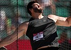Mason Finley competes during the finals of men's discus throw at the U.S. Olympic Track and Field Trials Friday, June 25, 2021, in Eugene, Ore. (AP Photo/Charlie Riedel)