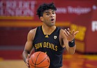 Arizona State guard Remy Martin dribbles during the first half of an NCAA college basketball game against Southern California Wednesday, Feb. 17, 2021, in Los Angeles.