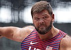 Mason Finley, of United States, competes in his heat of the men's discus throw at the 2020 Summer Olympics, Friday, July 30, 2021, in Tokyo. (AP Photo/David J. Phillip)