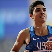 Bryce Hoppel, of the United States smiles after a men's 800 meter semifinal at the World Athletics Championships in Doha, Qatar, Sunday, Sept. 29, 2019.