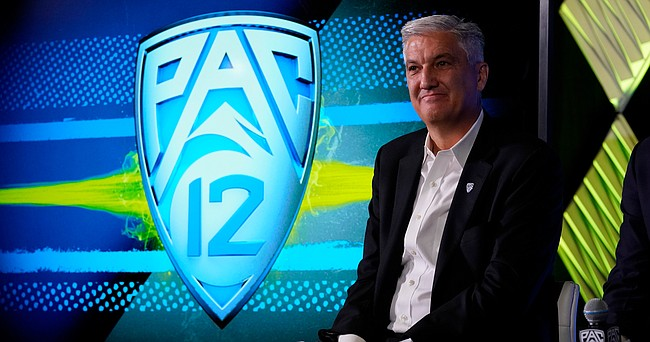 Pac-12 Commissioner George Kliavkoff fields questions during the Pac-12 Conference NCAA college football Media Day Tuesday, July 27, 2021, in Los Angeles.