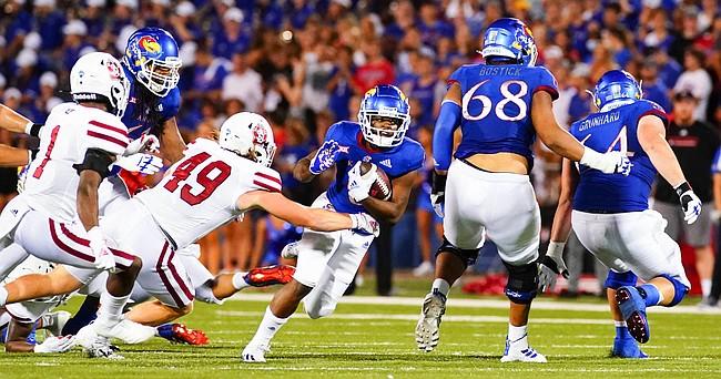 Kansas running back Velton Gardner (0) takes off on a run against South Dakota during the second quarter on Friday, Sept. 3, 2021 at Memorial Stadium. (Photo by Nick Krug/Special to the Journal-World)