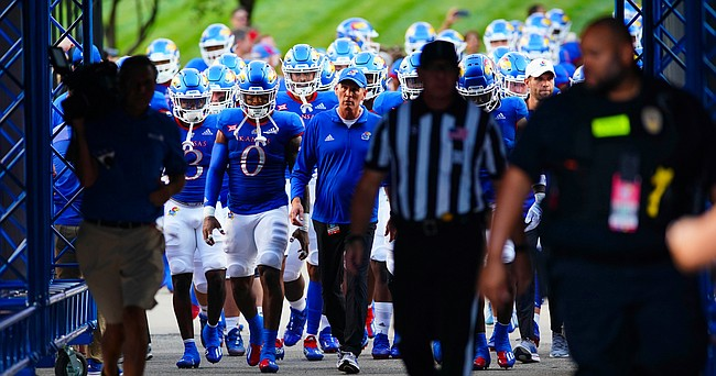 Kansas head coach Lance Leipold and the Jayhawks take the field for kickoff against South Dakota on Friday, Sept. 3, 2021 at Memorial Stadium. (Photo by Nick Krug/Special to the Journal-World)
