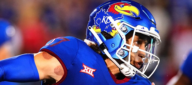 Kansas quarterback Jason Bean (17) takes off up the field on a run against South Dakota during the second quarter on Friday, Sept. 3, 2021 at Memorial Stadium. (Photo by Nick Krug/Special to the Journal-World)