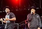 "Darryl ""D.M.C."" McDaniels, left, and Joseph ""Run"" Simmons of Run-DMC perform during Day 2 of the Made in America Music Festival on Sept. 2, 2012 in Philadelphia."