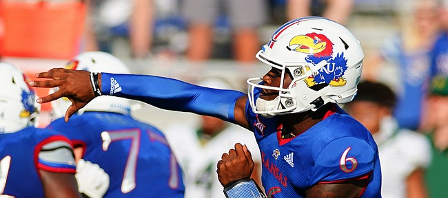 Kansas quarterback Jalon Daniels (6) throws against the Baylor defense during the fourth quarter on Saturday, Sept. 18, 2021 at Memorial Stadium. (Photo by Nick Krug/Special to the Journal-World)