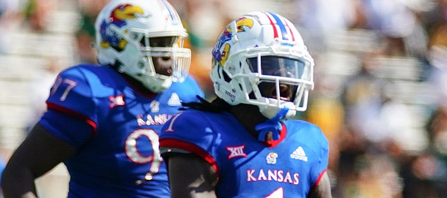 Kansas safety Kenny Logan Jr. (1) celebrates a fumble recovery by the Jayhawks during the first quarter on Saturday, Sept. 18, 2021 at Memorial Stadium. (Photo by Nick Krug/Special to the Journal-World)