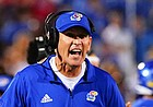 Kansas head coach Lance Leipold yells at the officials during the fourth quarter on Friday, Sept. 3, 2021 at Memorial Stadium. (Photo by Nick Krug/Special to the Journal-World)