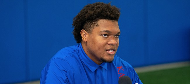 Kansas offensive lineman Earl Bostick Jr. talks with media members during interview on Tuesday, Aug. 17, 2021 at the Indoor Practice Facility.