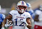 Kansas wide receiver Torry Locklin (12) runs against Duke during the first half of an NCAA college football game in Durham, N.C., Saturday, Sept. 25, 2021. (AP Photo/Gerry Broome)
