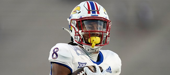 Kansas wide receiver Kwamie Lassiter II (8) runs against Duke during the second half of an NCAA college football game in Durham, N.C., Saturday, Sept. 25, 2021. (AP Photo/Gerry Broome)