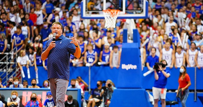 Kansas Jayhawks head coach Bill Self talks with the crowd during Late Night in the Phog, Friday, Oct. 1, 2021 at Allen Fieldhouse.