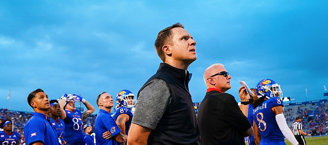 Kansas athletic director Travis Goff watches with members of the football team as a South Dakota field goal misses during the first quarter on Friday, Sept. 3, 2021 at Memorial Stadium. (Photo by Nick Krug/Special to the Journal-World)