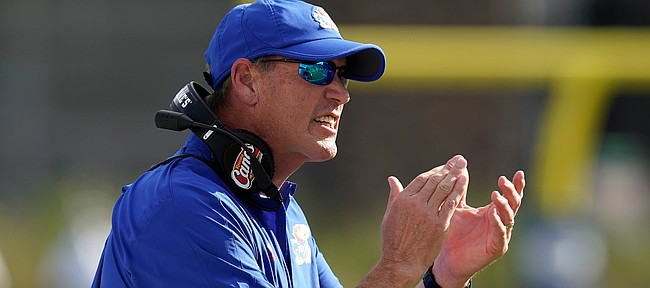 Kansas head coach Lance Leipold reacts during the first half of an NCAA college football game against Duke in Durham, N.C., Saturday, Sept. 25, 2021. (AP Photo/Gerry Broome)
