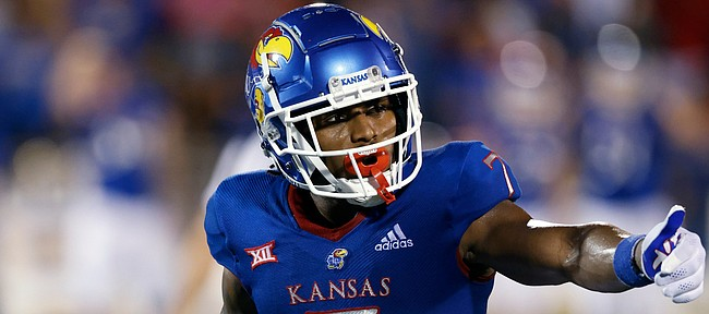 Kansas wide receiver Trevor Wilson during a NCAA football game on Friday, Sept. 3, 2021 in Lawrence, Kan. (AP Photo/Colin E. Braley)