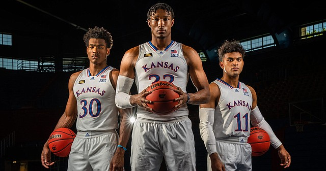 Kansas seniors, from left to right, Ochai Agbaji, David McCormack and Remy Martin were recently named preseason all-Big 12 picks by the conference's coaches, with Martin earning the preseason player of the year nod.