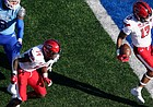 Texas Tech wide receiver Erik Ezukanma (13) runs into the end zone for a touchdown against Kansas during the second quarter of an NCAA college football game Saturday, Oct. 16, 2021, in Lawrence, Kan. (AP Photo/Ed Zurga)
